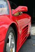 Wing Mirror Photos - Red Ferrari by Caz Sultz