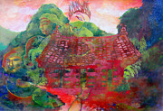 Red Roof Mixed Media Prints - Red Festival Print by James Huntley