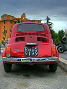 Fiat 500 Framed Prints - Red Fiat 500 Framed Print by Vlad Baciu