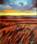 Bright Prints Painting Originals - Red Field by Helena Wierzbicki