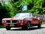 Pontiac Posters - Red Firebird Convertible Poster by Susan Savad