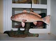 Fish Sculpture Prints - Red Fish Carving  Print by Richard Goohs