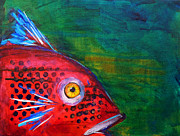 Abstract Wildlife Paintings - Red Fish by Nancy Merkle