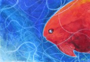 Sea Life Pastels Prints - Red Fish Print by Samantha Geernaert