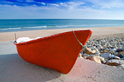 Beached Photos - Red Fishing Boat Algarve Portugal by Christopher and Amanda Elwell