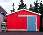 Fishing House Posters - Red Fishing Shack PEI Poster by Edward Fielding