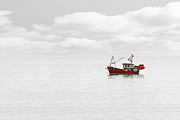 Trawler Metal Prints - Red Fishing Trawler Metal Print by Richard Thomas