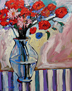 Roses Poppies Paintings - Red Floral by Patty Baker