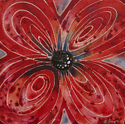 Framed Prints Painting Originals - Red Flower 2 - Vibrant Red Floral Art by Sharon Cummings