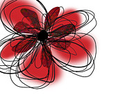 Red Flower Digital Art - Red Flower Collage by Ann Powell