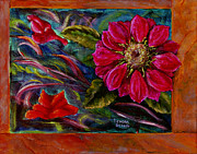 Larger Paintings - Red Flower in Rust and Green by Lenora  De Lude