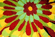 Red Tapestries - Textiles Posters - Red Flower Rug Poster by Janette Boyd