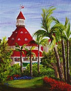 Coronado Art - Red Flowers at the Del by Maic Palmieri
