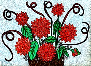 Basket Drawings Posters - Red Flowers in a Basket Poster by Sarah Loft