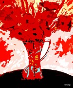 Art Mobile Prints - Red Flowers In A Vase Print by Patrick J Murphy