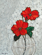 Cheryl Hymes - Red Flowers in Glass Vase