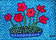 Blue Flowers Drawings - Red Flowers on Blue by Sarah Loft