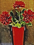 Marsha Heiken - Red Flowers on the Deck