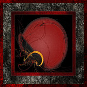 Football Safety Posters - Red Football Helmet Abstract Frames 1 Poster by Andee Photography