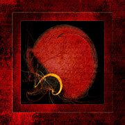 Safety Gear Digital Art - Red Football Helmet Abstract Frames 4 by Andee Photography