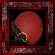 Team Colors Posters - Red Football Helmet Abstract With 2 Poster by Andee Photography
