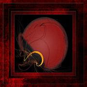 Team Colors Posters - Red Football Helmet Abstract With 3 Poster by Andee Photography