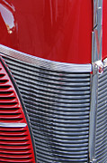 Collector Cars Digital Art Posters - Red Ford Deluxe Grille Poster by Ben and Raisa Gertsberg