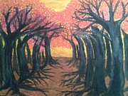 Featured Pastels - Red Forest by Eliza Paul