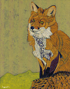 Fox Painting Prints - Red Fox Far From Home Print by David  Hearn