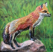 Red Reliefs Posters - Red Fox Poster by Lorrie T Dunks