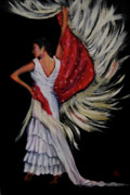 Nancy Bradley Painting Originals - Red Fringed Scarf by Nancy Bradley
