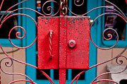 Handcrafted Metal Prints - Red Gate in Santa Fe Metal Print by Art Block Collections
