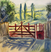 Entering Painting Prints - Red gate watercolor painting Print by Cristina Movileanu