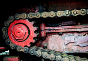 Gear Wheel Posters - Red gear wheel and chain of old locomotive Poster by Matthias Hauser