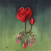 Christiane Schulze Posters - Red Geranium - Oil Painting Poster by Christiane Schulze