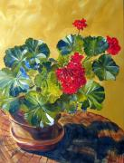 Red Geraniums Prints - Red Geranium Oil Painting  Print by Maria Soto Robbins