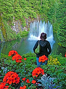 Red Geraniums Digital Art Posters - Red Geraniums and Ross Fountain in Butchart Gardens near Victoria-BC Poster by Ruth Hager