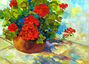 Red Geraniums Painting Posters - Red Geraniums I Poster by Peggy Wilson