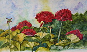 Red Geraniums Painting Posters - Red Geraniums Poster by Patsy Sharpe