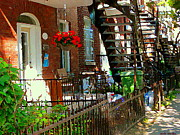 Montreal Streets Paintings - Red Geraniums Verdun Winding Staircases Hanging Flower Basket Montreal Porch Scene Carole Spandau by Carole Spandau