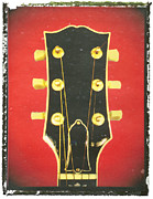 Guitar Headstock Framed Prints - Red Gibson Guitar Headstock Art Print Framed Print by Artful Musician NY