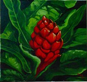Jamaican Art Paintings - Red Ginger by Sharon Fox-Mould
