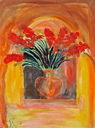 Gladiolas Paintings - Red Gladiolas by Troy Thomas
