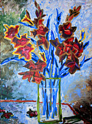 Gladiolas Mixed Media Posters - Red Gladiolas Poster by Yvonne Gaudet