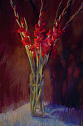 Gladiolus Paintings - Red Gladiolus  by Cathy Locke