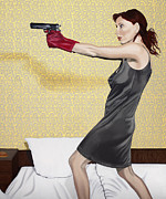 Nightgown Paintings - Red Gloves by Marcella Lassen