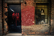 Brick Framed Prints - Red Graffiti on Door Framed Print by Amy Cicconi