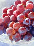 Grapes Art Painting Framed Prints - Red Grape Essence Framed Print by Sharon Freeman
