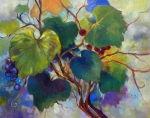 Purple Grapes Paintings - Red Grape Vines by Peggy Wilson