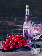 Candle Painting Originals - Red Grapes and Wine by Shirl Theis